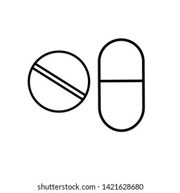 Medical pharmaceutical round and hollow oval pills and pills capsules healing for the treatment of diseases, a simple black and white icon on a white background.  illustration.