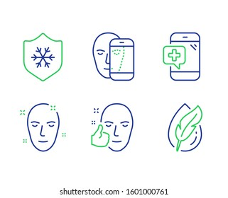 Medical phone, Healthy face and Health skin line icons set. Clean skin, Face biometrics and Hypoallergenic tested signs. Mobile medicine, Healthy cosmetics, Cold protect. Facial recognition.