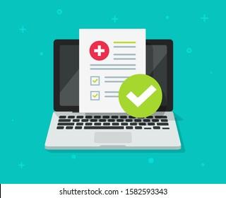 Medical prescription digital document or online test results report on laptop computer screen flat cartoon image