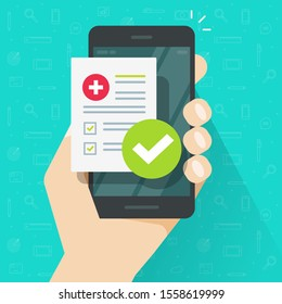 Medical prescription online or digital medicine test results with approved check mark form on person hand mobile phone illustration flat cartoon modern design, cellphone with clinic checklist image