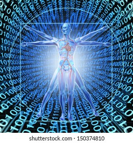 Medical Records Technology with a vitruvian man on a background of digital binary code as a health care symbol of electronic data storage at a central server network for a hospital or clinic.