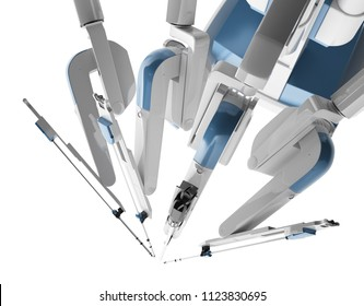 Medical robot surgery. Modern medical technologies. Robotic arm isolated on white background. 3D rendering