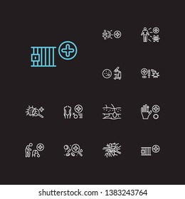 Medical sciences icons set. Addiction medicine and medical sciences icons with pathology, transplantation medicine and angiology. Set of magnifier for web app logo UI design.