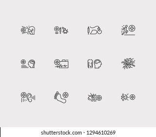 Medical sciences icons set. Angiology and medical sciences icons with ophthalmology, neurology and podiatry. Set of diagnosis for web app logo UI design.
