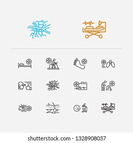 Medical sciences icons set. Angiology and medical sciences icons with pathology, pulmonology and intensive care medicine. Set of organism for web app logo UI design.