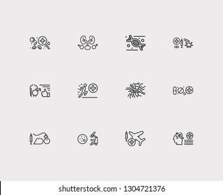 Medical sciences icons set. Aviation medicine and medical sciences icons with urology, angiology and anesthesiology. Set of chemistry for web app logo UI design.
