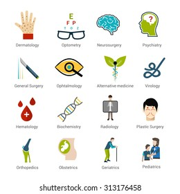 Medical specialties icons set with dermatology optometry neurosurgery psychiatry isolated  illustration