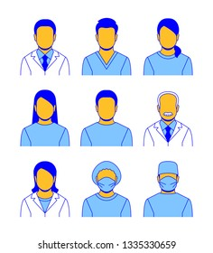 Medical staff flat line avatars. Hospital specialists icons. Doctors, nurses, assistants, patients, surgeon, professor. Different health care male and female professionals