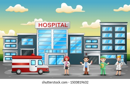 Medical staff team concept in front of hospital with ambulance