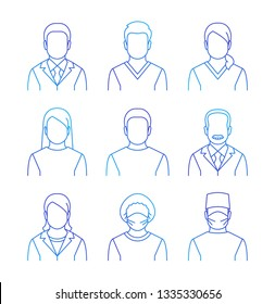 Medical staff thin line avatars. Hospital specialists icons. Doctors, nurses, assistants, patients, surgeon, professor. Different health care male and female professionals