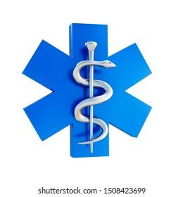 Medical symbol - aesculapius staff - 3D illustration