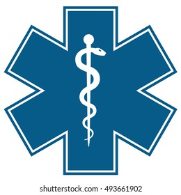 Medical symbol of the Emergency - Star of Life flat icon isolated on white background. EMS, First responder. illustration