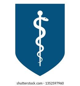 Medical symbol - Staff of Asclepius or Caduceus icon on the shield. The snake entwined around a wooden staff. Other name Rod of Aesculapius. illustration