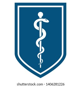 Medical symbol - Staff of Asclepius or Caduceus icon on flat the shield. The snake entwined around a wooden staff. Other name Rod of Aesculapius. illustration