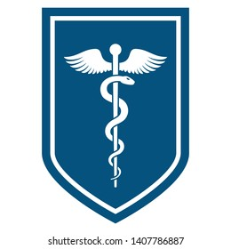 Medical symbol - Staff of Asclepius or Caduceus with wings icon on the flat shield. The snake entwined around a wooden staff with wings. Other name Rod of Aesculapius. illustration