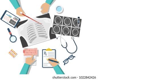 Medical team doctors at desktop. Diagnostic medical equipment. Research documents.Healthcare concept.Teamwork of doctors.Group surgeons. Flat design, Illustration. Banner web.