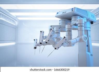 Medizintechnik-Konzept mit 3D-Rendering-Chirurgie-Roboter im Chirurgie-Raum