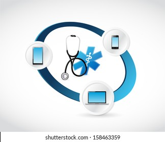 medical technology connected concept illustration design over white