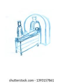 medical tomograph brain scan  illustration