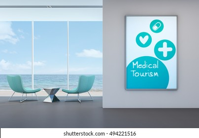 Medical tourism concept, Sea view room in beach front clinic - 3D rendering