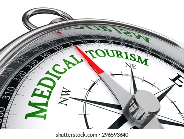medical tourism sign on concept compass, isolated on white background
