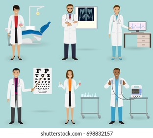Medical treatment set with doctors of different specialties and equipment. Medicine staff occupation. Group of hospital employee.
