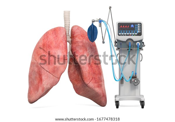 Medical ventilator with lungs, 3D rendering isolated on white background