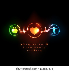 Medical and Wellness symbol. Healthy food and fitness leads to healthy heart and healthy life.
