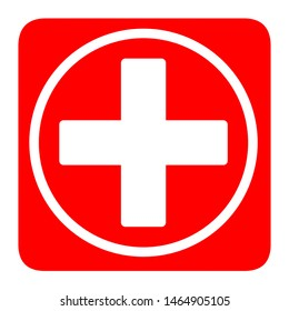 Medical white cross symbol in a red square