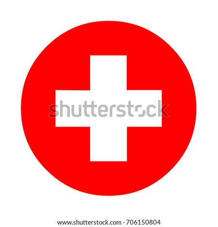 Medical White Cross Symbol Red Circle Stock Illustration 706150804