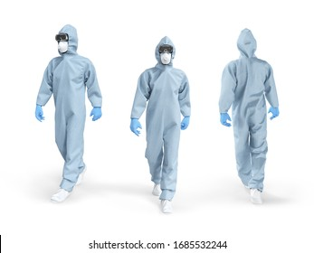 Medical worker in protective overalls. Front, back, side view. The doctor walks in a protective disposable suit, in a respirator and glasses. A man in a medical uniform. 3d illustration.