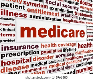 Medicare word clouds design. Health insurance creative slogan