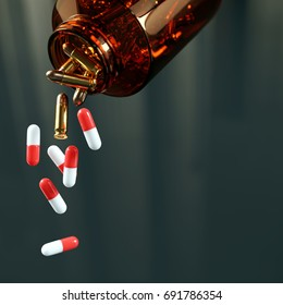 Medication Danger - Pills and bullets falling out of a flask (3D rendering)