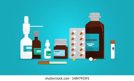 Medication set. Collection of pharmacy drug in bottle. Medicine pill for disease treatment. Drugstore concept. Flat illustration