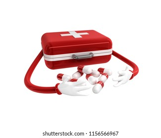 medicine bag and medicines 3d rendering