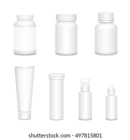 Medicine blank white mock up bottles set for sprays, cosmetics or pills realistic 3D illustration