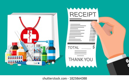 Medicine collection in bag, hand with receipt. Set of bottles, tablets, pills, capsules and sprays. Medical drug, vitamin, antibiotic. Healthcare and pharmacy. Flat illustration