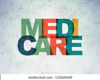 Medicine concept: Painted multicolor text Medicare on Digital Data Paper background