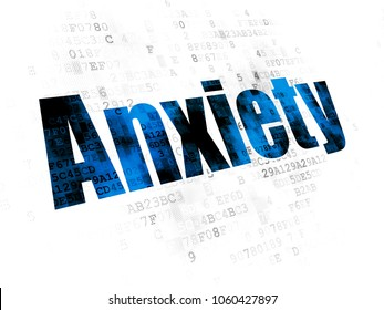 Medicine concept: Pixelated blue text Anxiety on Digital background