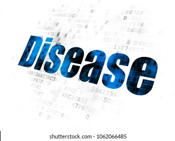 Medicine concept: Pixelated blue text Disease on Digital background