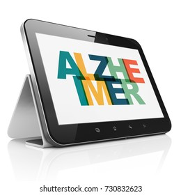 Medicine concept: Tablet Computer with Painted multicolor text Alzheimer on display, 3D rendering