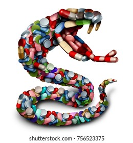 Medicine danger concept as a group of pills and prescription drug capsules shaped as a venemous snake as a pharmacy risk icon as a 3D render.