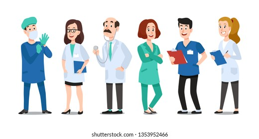 Medicine doctors. Medical physician, hospital nurse and doctor with stethoscope. Medic healthcare workers, professional doctor and pharmacist. Cartoon  characters isolated icons set