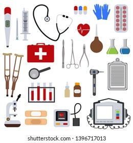 Medicine and health tools medical hospital human service operation healthy care first aid kit vector illustration. Professional laboratory work pharmacy emergency equipment heartbeat help.