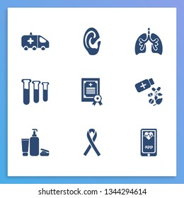 Medicine icon set and medical license with test tubes, beauty products and ambulance. Pulmonary related medicine icon  for web UI logo design.