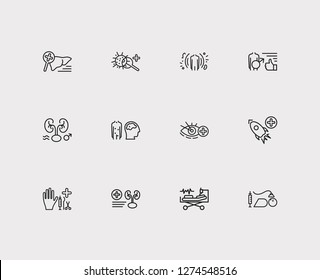 Medicine icons set. Anesthesiology and medicine icons with andrology, surgery, intensive care medicine. Set of magnifier for web app logo UI design.