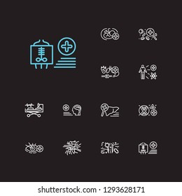 Medicine icons set. Angiology and medicine icons with hematology, neurology and obstetrics. Set of magnifier for web app logo UI design.