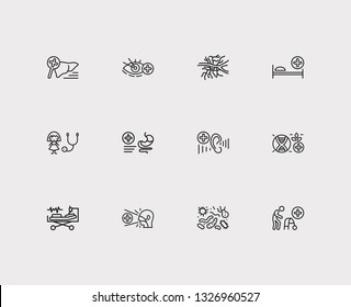Medicine icons set. Angiology and medicine icons with intensive care medicine, biomedicine and gastroenterology. Set of organism for web app logo UI design.