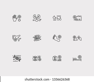 Medicine icons set. Angiology and medicine icons with sexual health, emergency medicine and transplantation medicine. Set of approve for web app logo UI design.