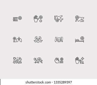 Medicine icons set. Aviation medicine and medicine icons with bacteriology, pulmonology and sleep medicine. Set of magnifier for web app logo UI design.